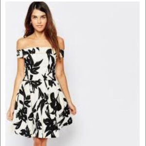 black and white print off the shoulder dress